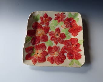 red flower square plate