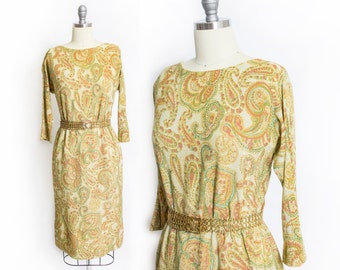 Vintage 1960s Dress - Metallic Gold Lame Paisley Printed Wiggle Dress 60s - Small