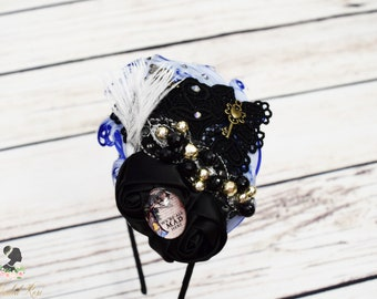 Handcrafted Vintage Inspired Alice Headband - We're All Mad Here Hair Accessory - Black and Blue Headband - Adult Alice Headband - Fancy Bow