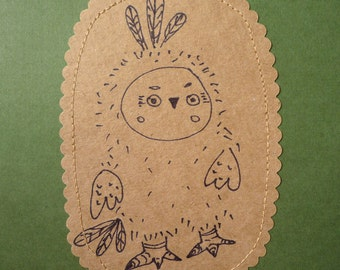Olaf Owl original illustration drawing  with embroidery on paper  ,  original art  by Wassupbrothers.