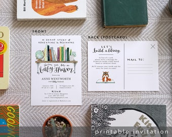 Book baby shower etsy book baby shower invite build a library watercolor shower invitation design customized printable digital download double sided filmwisefo