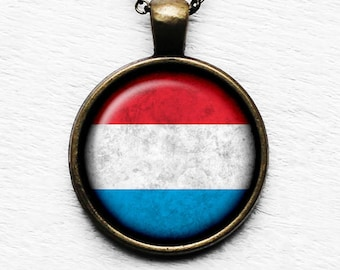 Luxembourg Lëtzebuerg Flag Pendant & Necklace