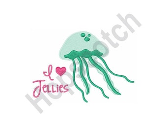 Jellyfish - Machine Embroidery Design, I Love Jellies