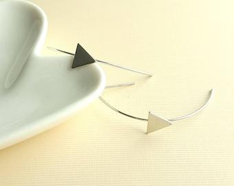Silver Plated Geo Triangle Hoop Earrings,Geo Triangle Hoops,Triangle Earrings,Geo Triangle Threader,Minimalist Earring,Tiny Triangle Hoop