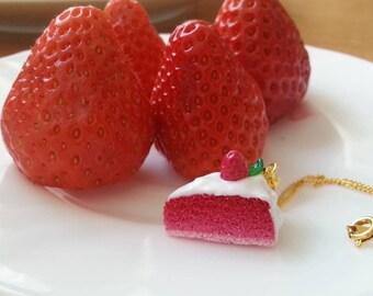 Pie piece chain/miniature strawberry cake Necklace