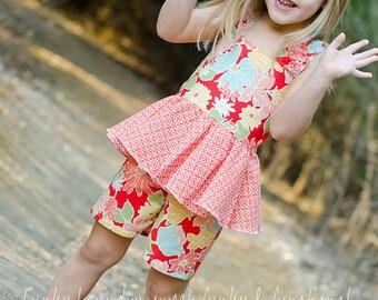 Farrah's Peplum Romper - Sizes 6/12m to 8 Girls