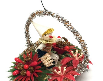 Vintage Ornament, Elf with Lantern, Pipe Cleaner,Basket,Mesh Wrapped, Poinsettia,Holly Berry, Pinecone, 1950