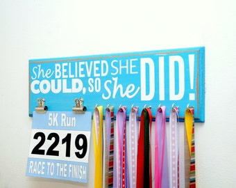 Running Medal Holder and Race Bib Display Featuring The Saying She Believed She Could, So She Did