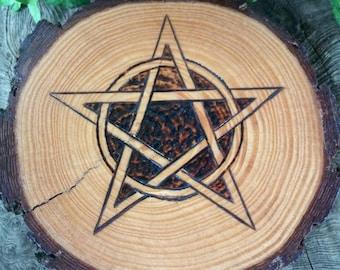 Rustic Altar Paten, Altar Tile, Altar Pentacle, Witchcraft, Wiccan Altar Tile, Wiccan Altar, Pagan Altar Décor, Traditional Craft