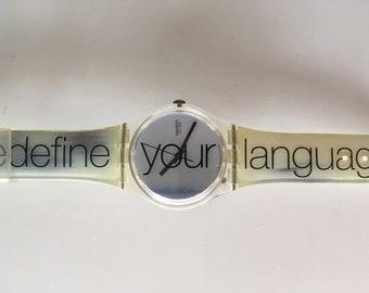 Swatch watch, horloge, Redefine your languages.