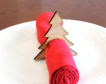 Christmas Tree Wood Napkin Rings, Holiday, Laser Cut Set of 4, 8, 12, Large Size
