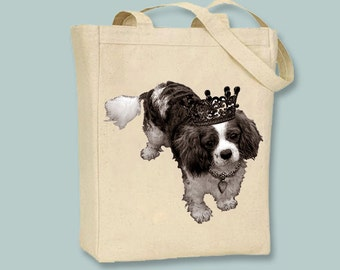 Royal Cavalier King Charles Spaniel on  Canvas Tote -- Selection of  sizes available