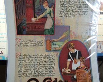 1919 o cedar polish ad 13 1/2 x 10 1/2 original print ad. Grest graphics suitable for framing.
