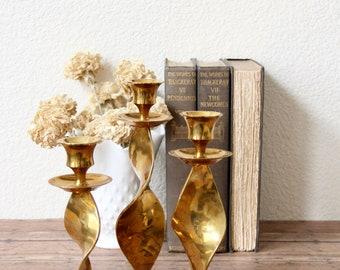 Brass Candleholders - Brass Candlestick Holders - Vintage Brass Candleholders - Vintage Brass Candleholder Set -  Brass Candlesticks - Brass