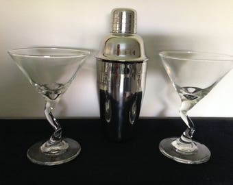 Parfums Givenchy polished stainless steel Martini Shaker and Glasses FREE SHIPPING