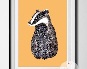 Badger art print, art print unframed, Badger poster, wall art, home decor, badger illustration, ink badger, ink drawing, woodland animals