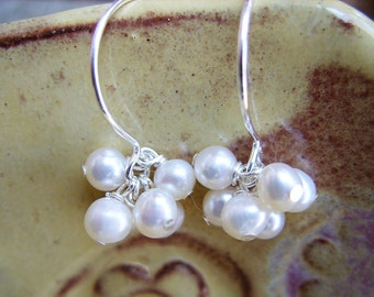 White Freshwater Pearl and Sterling Silver Earrings