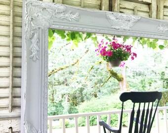 Grey Distressed Shabby Chic Mirror, Farmhouse Bathroom, Vanity Mirror, Ornate Mirror
