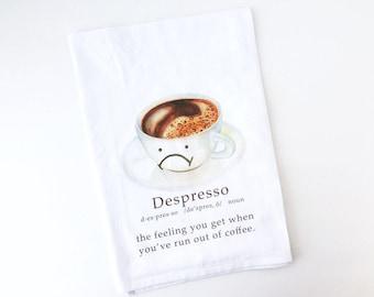 Flour Sack Towel | Depresso | Fun Towel | Gifts under 10