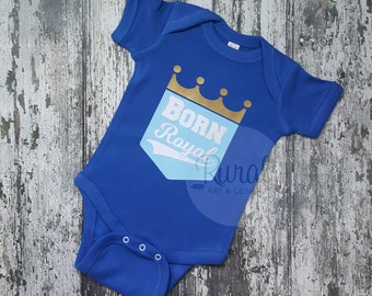 Born Royal Baby Bodysuit, Baby Bodysuit, shower gift, Royals, KC, Kansas City, KC Royals, Royals Baby, Royals Kid, Royals Boy, Royals Girl