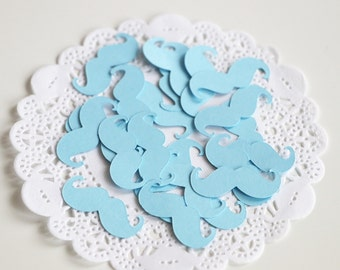 Baby Blue Mustache Confetti, Mustache Party Decoration, Baby Shower Table Decor, Gender Reveal Party