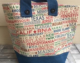 Knitting Project Bag - United States, 50 States, USA,Sweater Size Knitting Bag,Toad Hollow Bag,Louisa bag,yarn keeper,knitting project bag