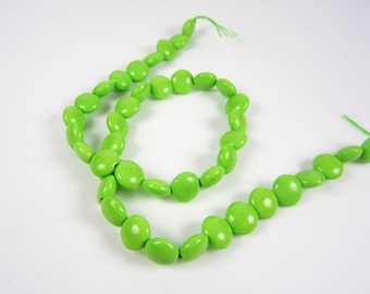 Green Magnesite Coin Beads
