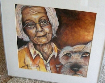 original art  ink drawing older woman and her dog SALE less than 1/2 price
