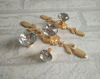 Drawer Knobs Pulls Handles Rhinestone Gold Clear Dresser Knobs Glass Kitchen Cabinet Knobs Door Knobs Furniture Bling Back Plate