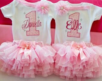 Twin girl birthday outfits,Princess birthday outfit,,cake smash outfit girl,1st birthday tutu,personalized 1st birthday tutu,pink silver