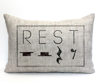 "rest pillow, music teacher gift, music lover gift, music pillow, music gift, music room decor, music room pillow ""The Rest"""
