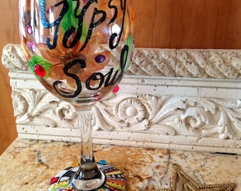 GYPSY SOUL, wineglass, Sunflowers, custom,hand painted, vibrant, magical, goblet, chalice, rebel, dreamer, colorful, hippie, free spirit,