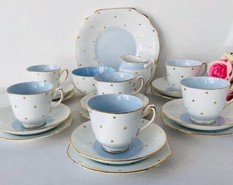Baby-Blue with Gold Stars Tea Set, Duchess China, Staffordshire, 1940s.