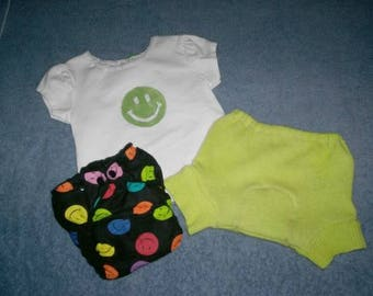 Happy Face Recycled Wool Soaker Set w/ Fitted Cloth Diaper