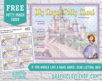 Printable Sofia the First Royal Potty Training Chart, FREE Punch Cards   High Resolution JPG File, Instant Download, Files are NOT Editable