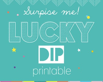 Lucky Dip Happy Surprise Printable / Happiness Digital Download - Fun Instant Download - Rainbow PDF File - Mystery Print at Home