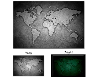 World map canvas etsy glow in the dark canvas wall art stone texture black and white world map gumiabroncs Gallery