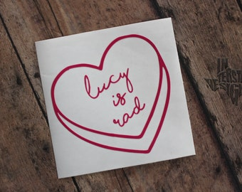 Personalized Candy Heart Decal