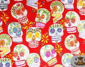100% Cotton Quilt Prints - Alexander Henry / Calaveras Skull - RED / FH-AH-071 / Sold by the yard