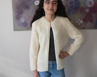 Vintage Cream Mohair Cardigan with a Beaded Trim