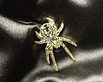 Spider Pin in Gold - Animal Enamel Pin Lapel Pin Hard Enamel Pin Pin Game Pingame black and gold flair animal pin spider orb weaver creepy