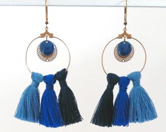 Earrings tassel - cotton blue and bronze metal - Agathe and Ana