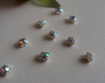 Set of 10 beads sewing kitten 3 * 3mm crystal color