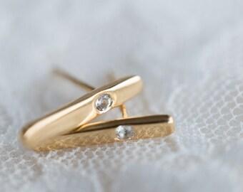 18K gold diamond bar ear studs, rose gold white sapphire earrings