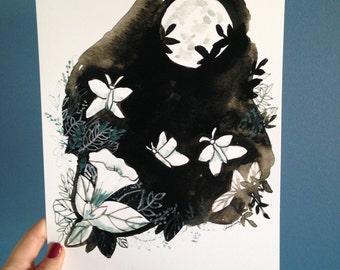 "Moonflower and Moth print, 8""x10"", unframed."