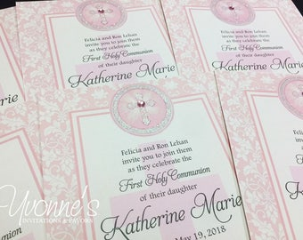 Communion Invitation - Holy Cross Design in Pink - for Communion, Confirmation, Christening, Baptism, Dedication or Religious Event