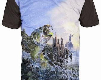 Cool Mens T-shirt 3D Perch Sublimation Printed Perch Fishing Hobby rXBZJTq8c