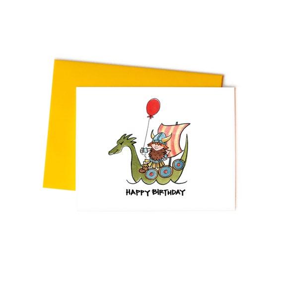 Happy Birthday Viking Single Greeting Card Childrens