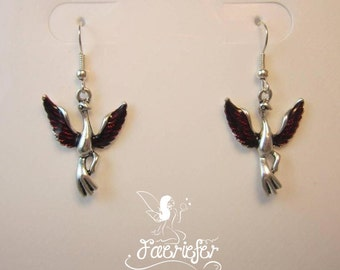 Phoenix Rising Earrings with deep red enamel