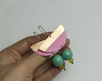 Statement earrings Pastel earrings Geometric earrings Pastel jewelry Funky earrings Colorful earrings Pink tones Pastel pink Mint Semicircle